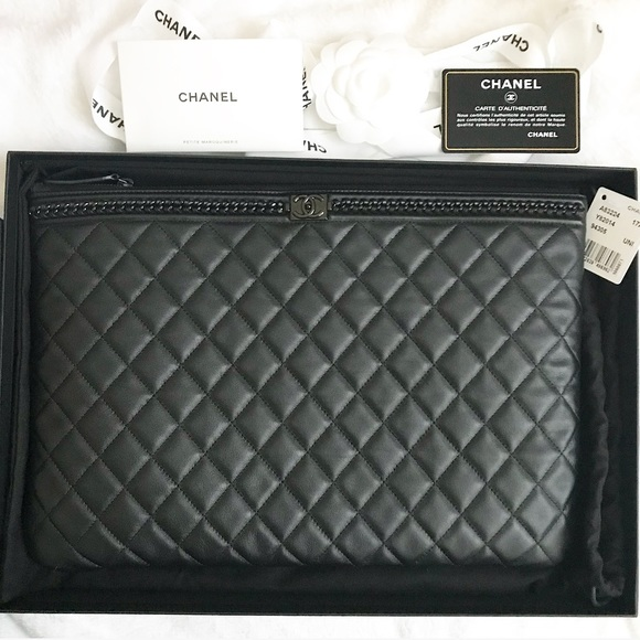 a2ebd38674e4 CHANEL Handbags - Chanel Large Boy Chain Quilted Pouch
